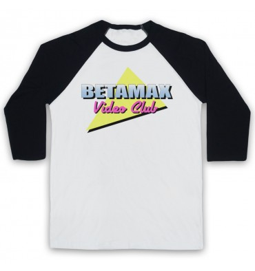 Betamax Video Club Logo Baseball Tee