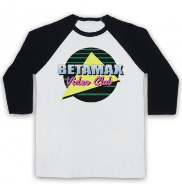 Betamax Video Club Circle Logo Baseball Tee