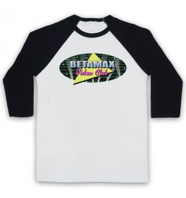 Betamax Video Club Spotlight Logo Baseball Tee