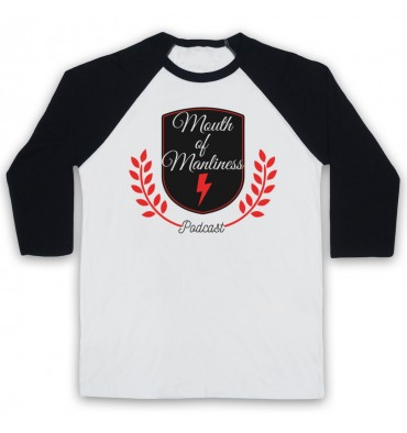Mouth Of Manliness Crest Logo Baseball Tee