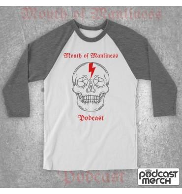 Mouth Of Manliness Skull Logo Baseball Tee