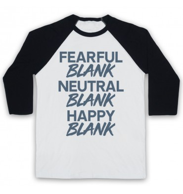 BLANK Fearful Blank Neutral Blank Happy Blank Logo Colours Baseball Tee