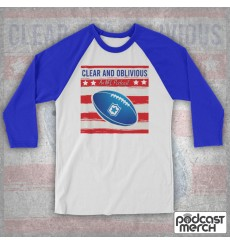 Clear And Oblivious NFL American Football Flag Logo Baseball Tee